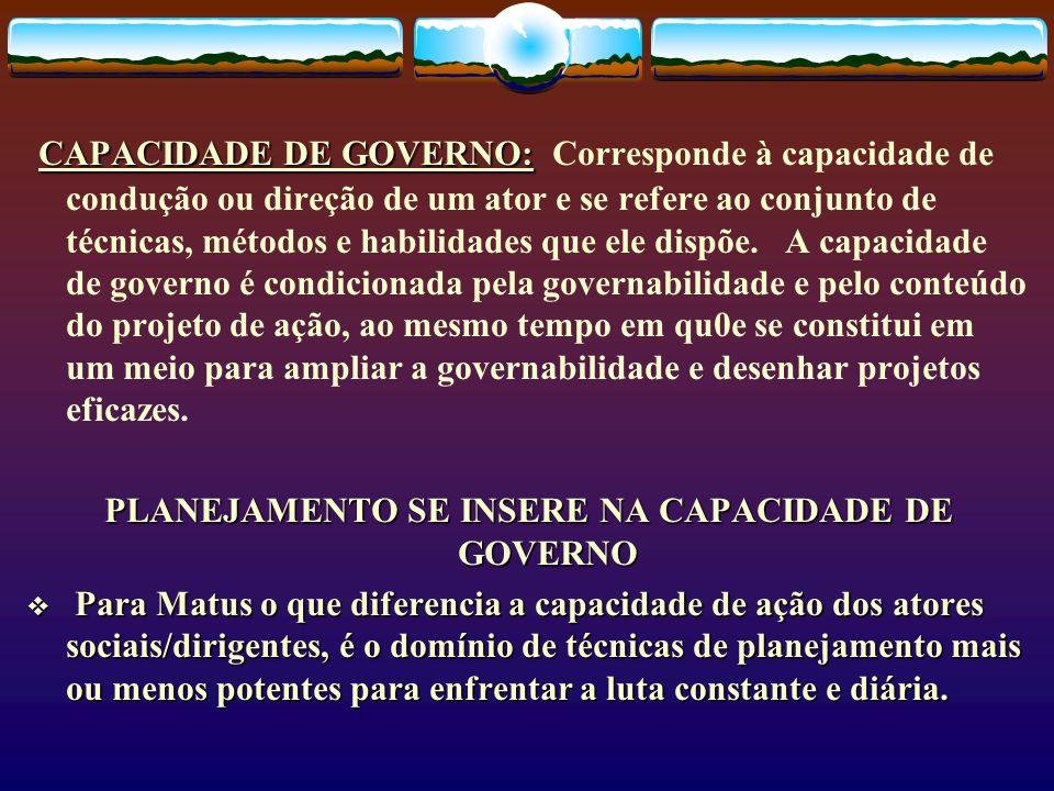 PLANEJAMENTO SE INSERE NA CAPACIDADE DE GOVERNO