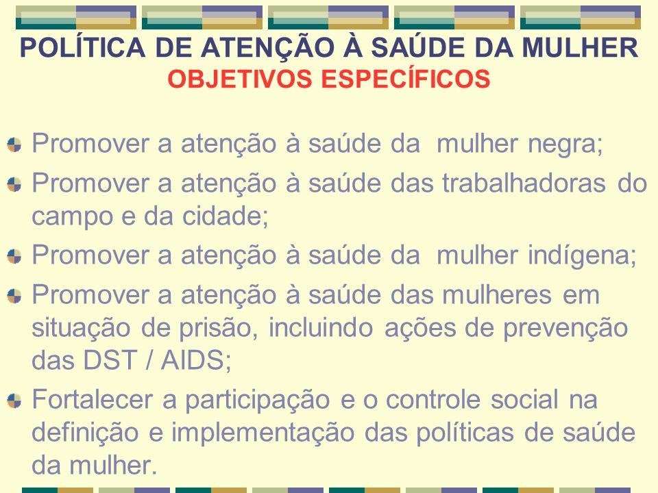 POLÍTICA DE ATENÇÃO À SAÚDE DA MULHER OBJETIVOS ESPECÍFICOS