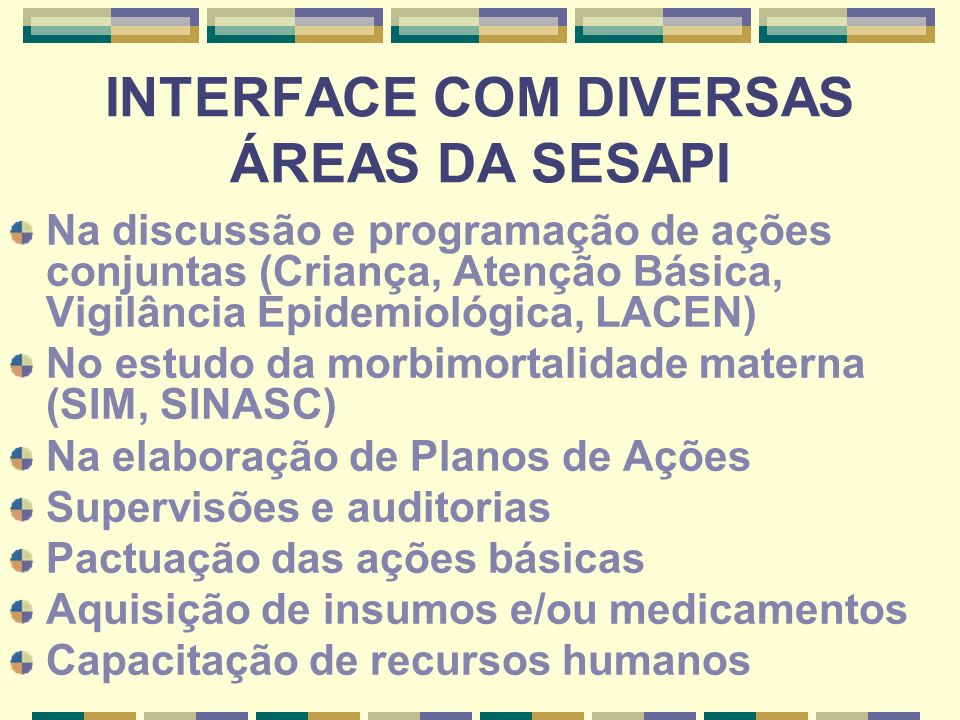 INTERFACE COM DIVERSAS ÁREAS DA SESAPI