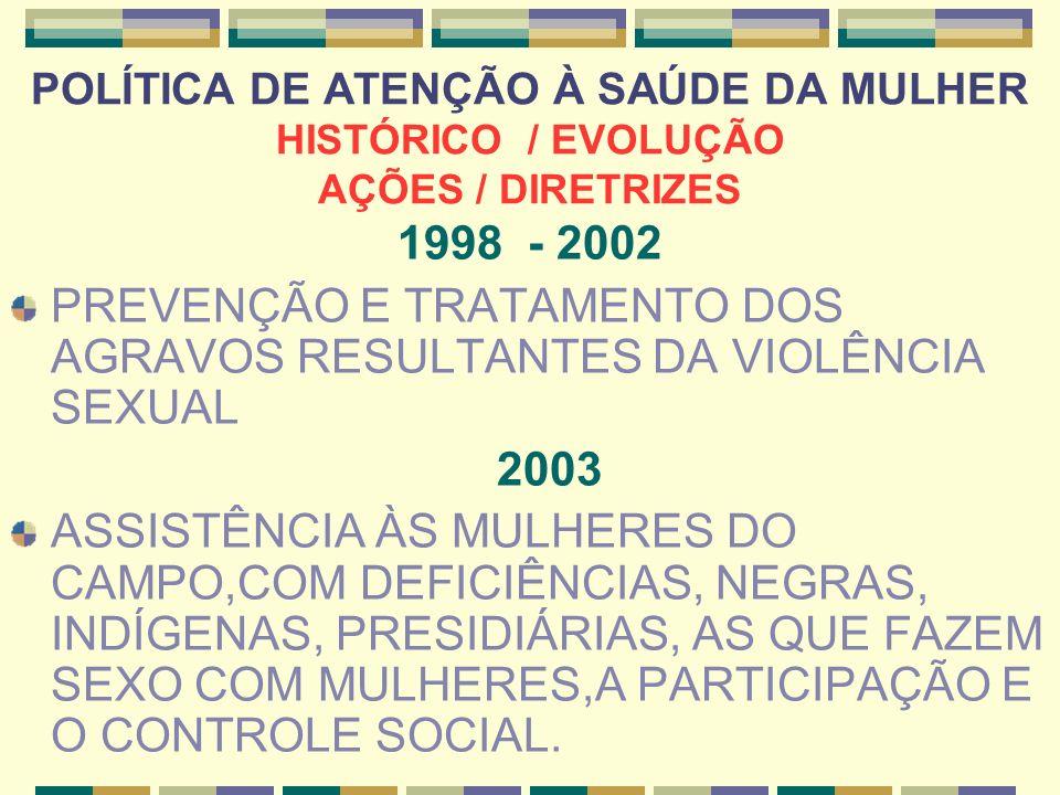 PREVENÇÃO E TRATAMENTO DOS AGRAVOS RESULTANTES DA VIOLÊNCIA SEXUAL
