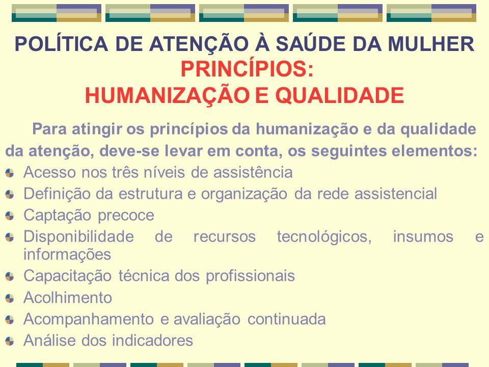 POLÍTICA DE ATENÇÃO À SAÚDE DA MULHER PRINCÍPIOS: HUMANIZAÇÃO E QUALIDADE