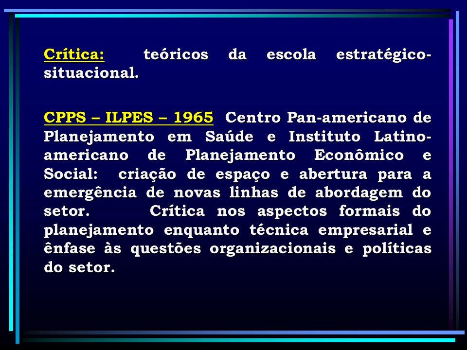 Crítica: teóricos da escola estratégico-situacional.