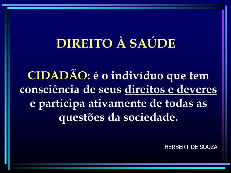 DIREITO À SAÚDE CIDADÃO: é o indivíduo que tem consciência de seus direitos e deveres e participa ativamente de todas as questões da sociedade.