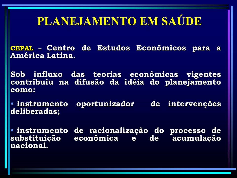 PLANEJAMENTO EM SAÚDE CEPAL – Centro de Estudos Econômicos para a América Latina.
