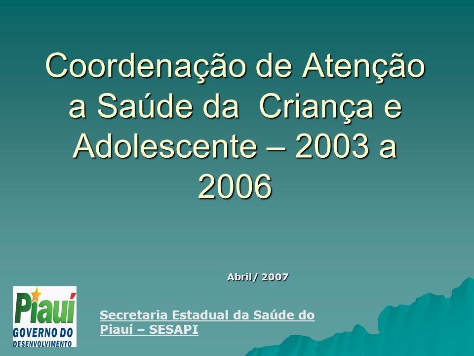 Coordenação de Atenção a Saúde da Criança e Adolescente – 2003 a 2006