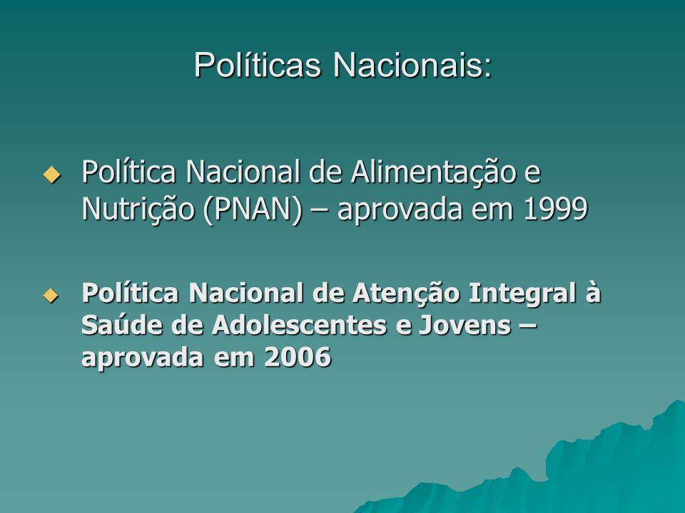 Políticas Nacionais: Política Nacional de Alimentação e Nutrição (PNAN) – aprovada em 1999.