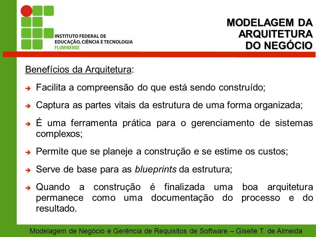 MODELAGEM DA ARQUITETURA DO NEGÓCIO Benefícios da Arquitetura: