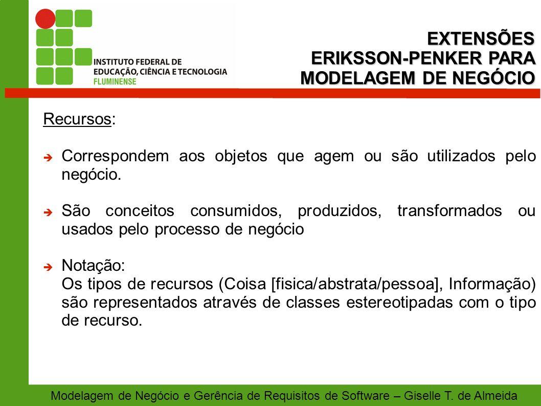 EXTENSÕES ERIKSSON-PENKER PARA MODELAGEM DE NEGÓCIO Recursos: