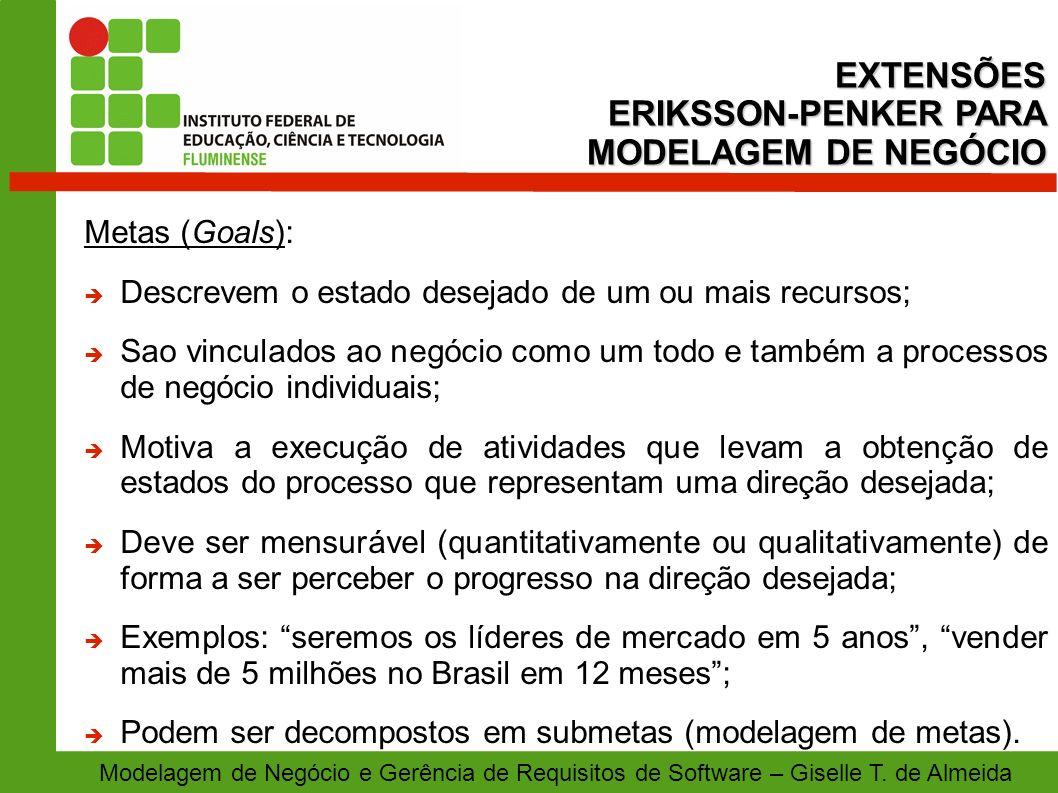 EXTENSÕES ERIKSSON-PENKER PARA MODELAGEM DE NEGÓCIO Metas (Goals):