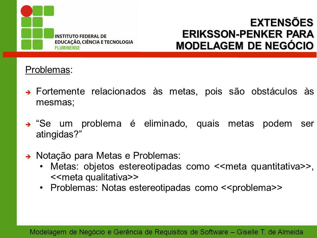 EXTENSÕES ERIKSSON-PENKER PARA MODELAGEM DE NEGÓCIO Problemas: