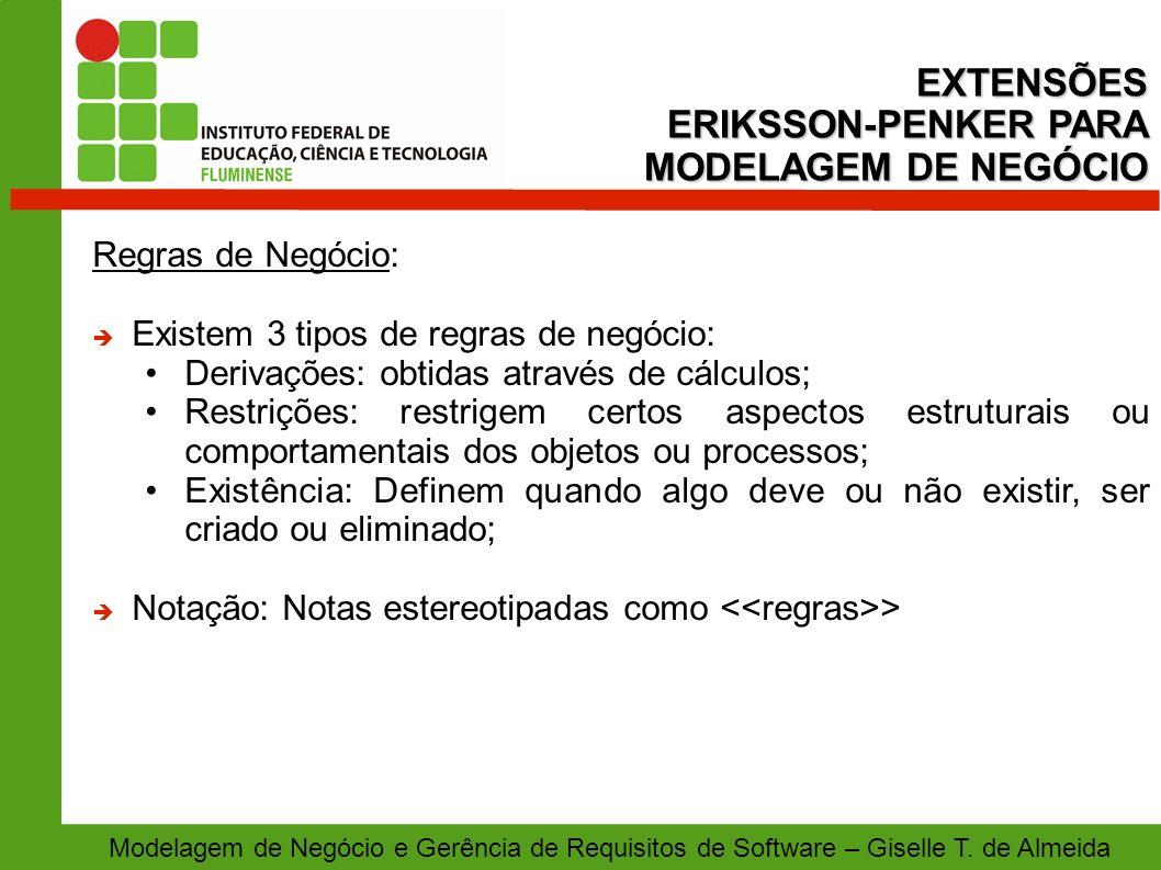 EXTENSÕES ERIKSSON-PENKER PARA MODELAGEM DE NEGÓCIO Regras de Negócio: