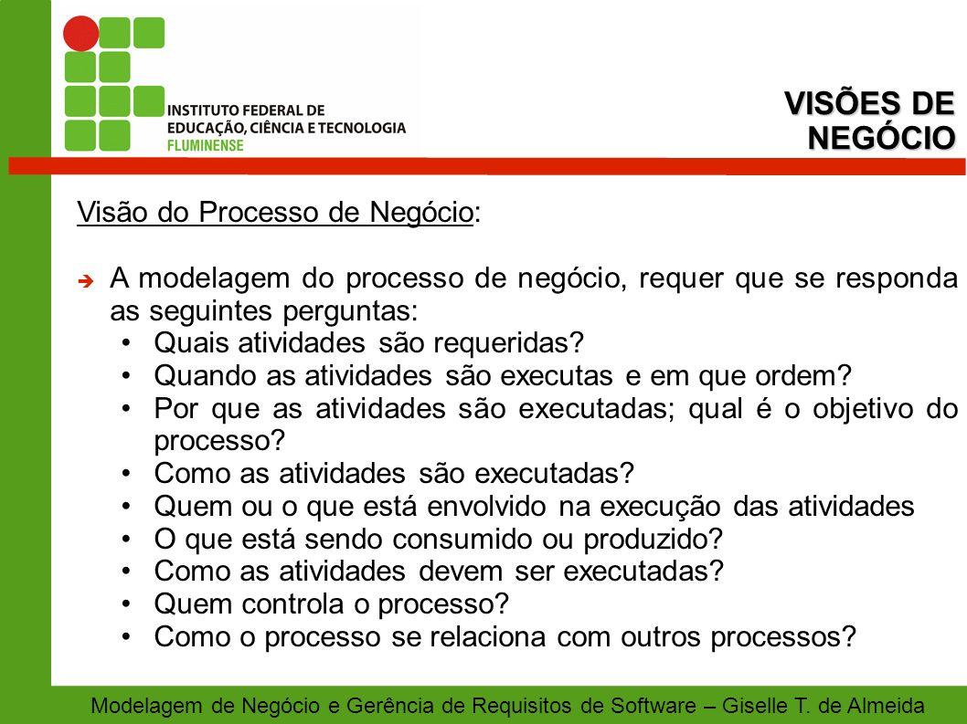 VISÕES DE NEGÓCIO Visão do Processo de Negócio: