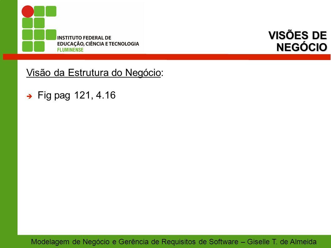 VISÕES DE NEGÓCIO Visão da Estrutura do Negócio: Fig pag 121, 4.16