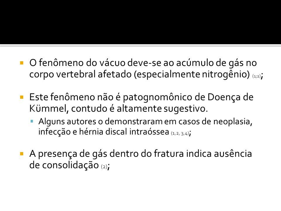 O fenômeno do vácuo deve-se ao acúmulo de gás no corpo vertebral afetado (especialmente nitrogênio) (1;2);