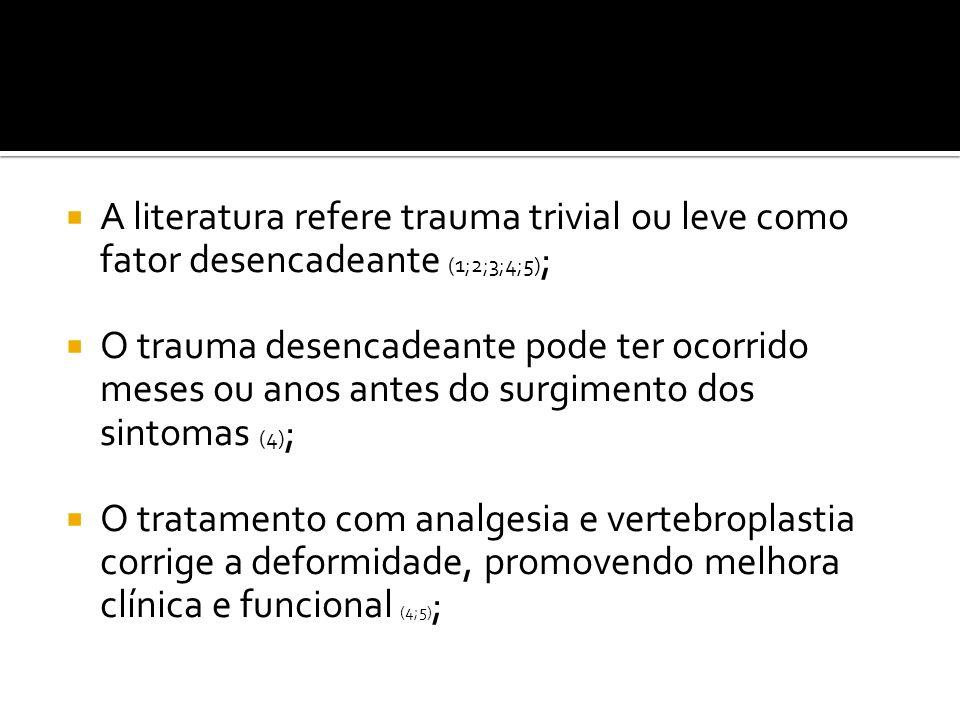 A literatura refere trauma trivial ou leve como fator desencadeante (1;2;3;4;5);