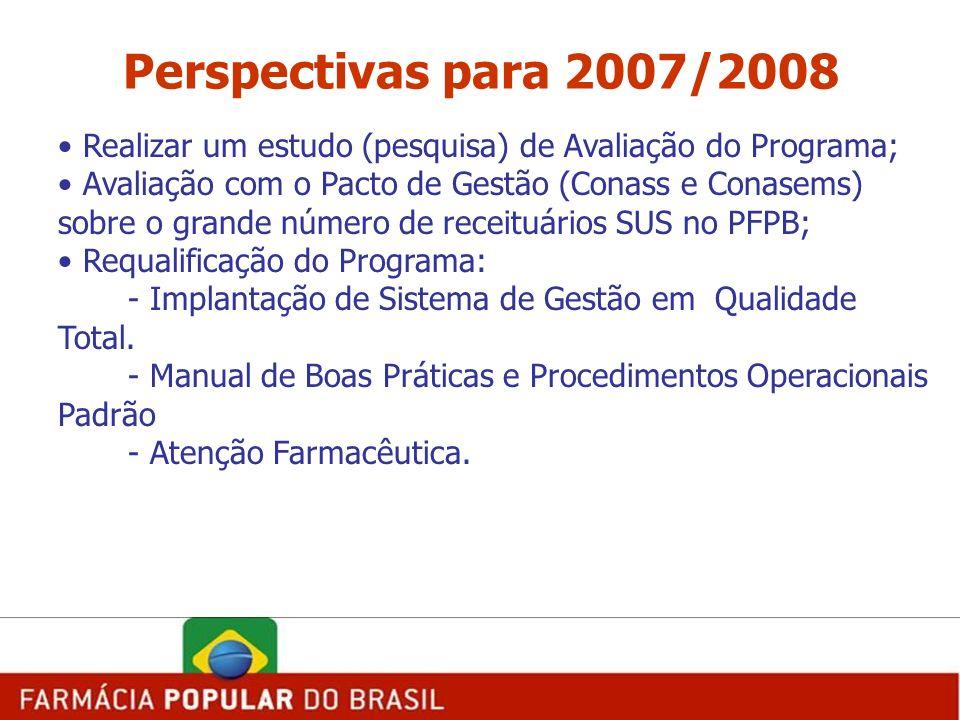 Perspectivas para 2007/2008 Realizar um estudo (pesquisa) de Avaliação do Programa;