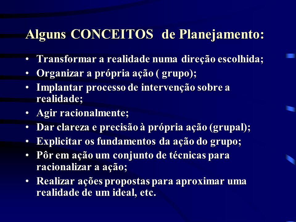 Alguns CONCEITOS de Planejamento:
