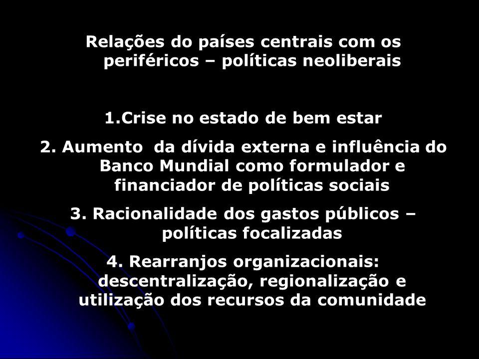 Relações do países centrais com os periféricos – políticas neoliberais