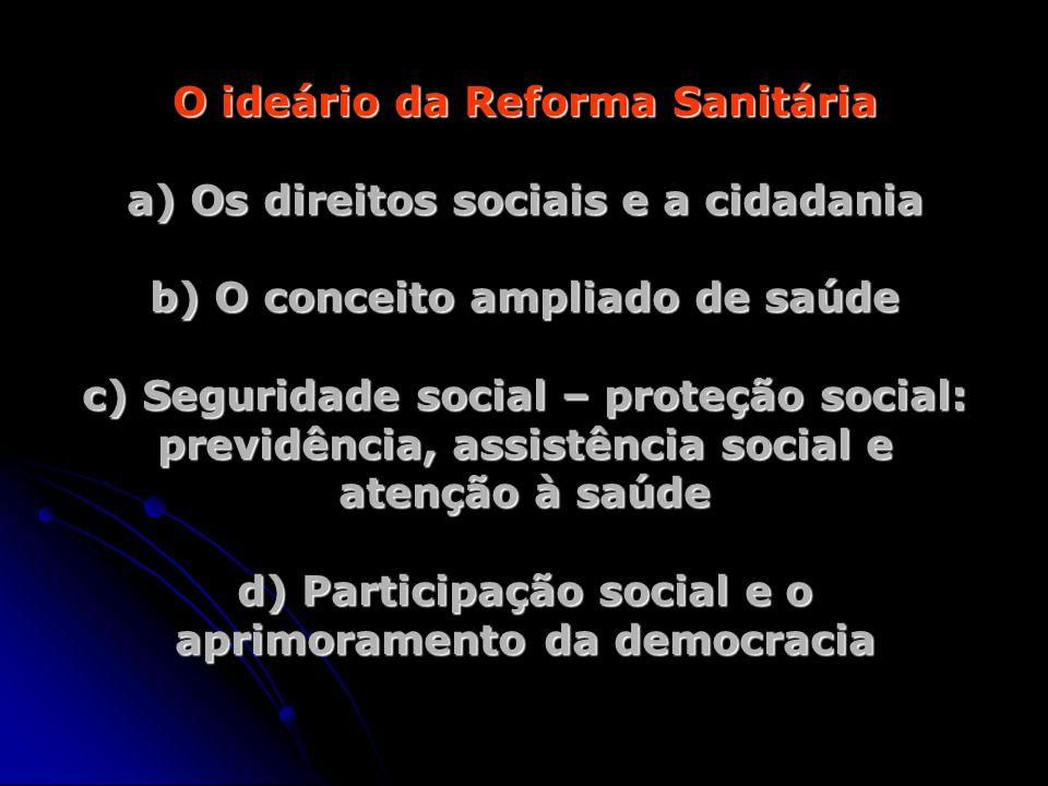 O ideário da Reforma Sanitária a) Os direitos sociais e a cidadania b) O conceito ampliado de saúde c) Seguridade social – proteção social: previdência, assistência social e atenção à saúde d) Participação social e o aprimoramento da democracia