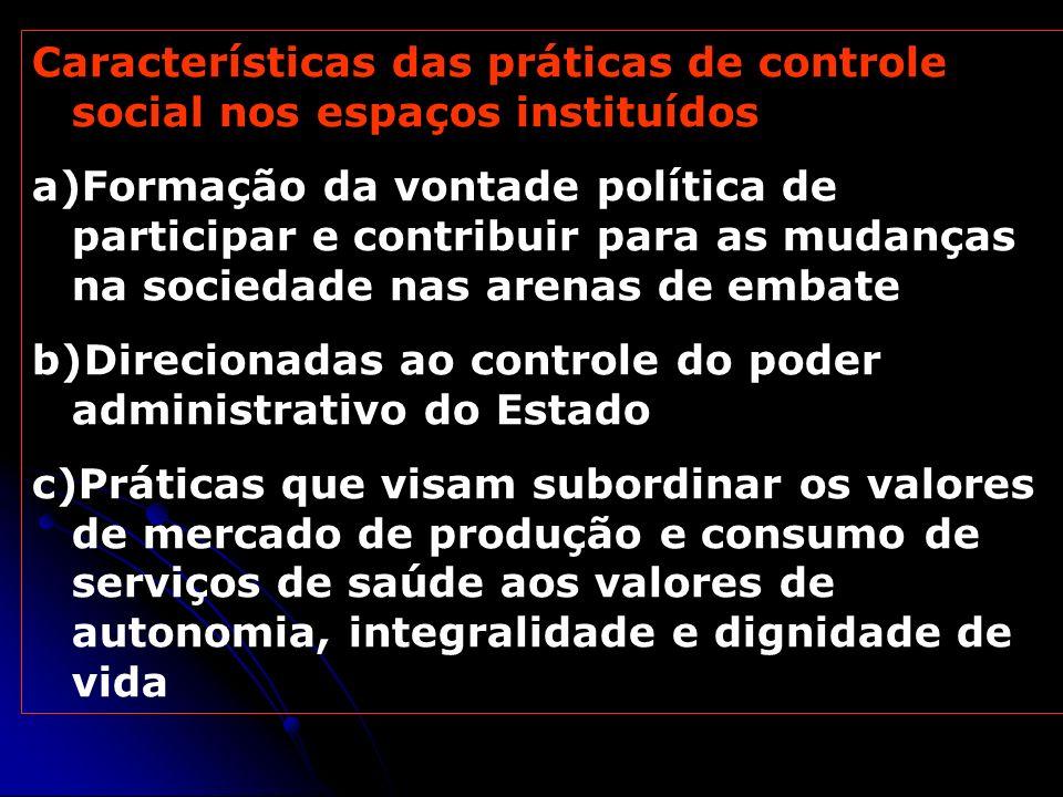 Características das práticas de controle social nos espaços instituídos