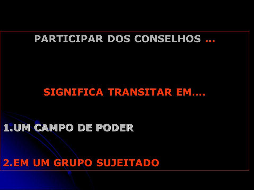PARTICIPAR DOS CONSELHOS ... SIGNIFICA TRANSITAR EM….