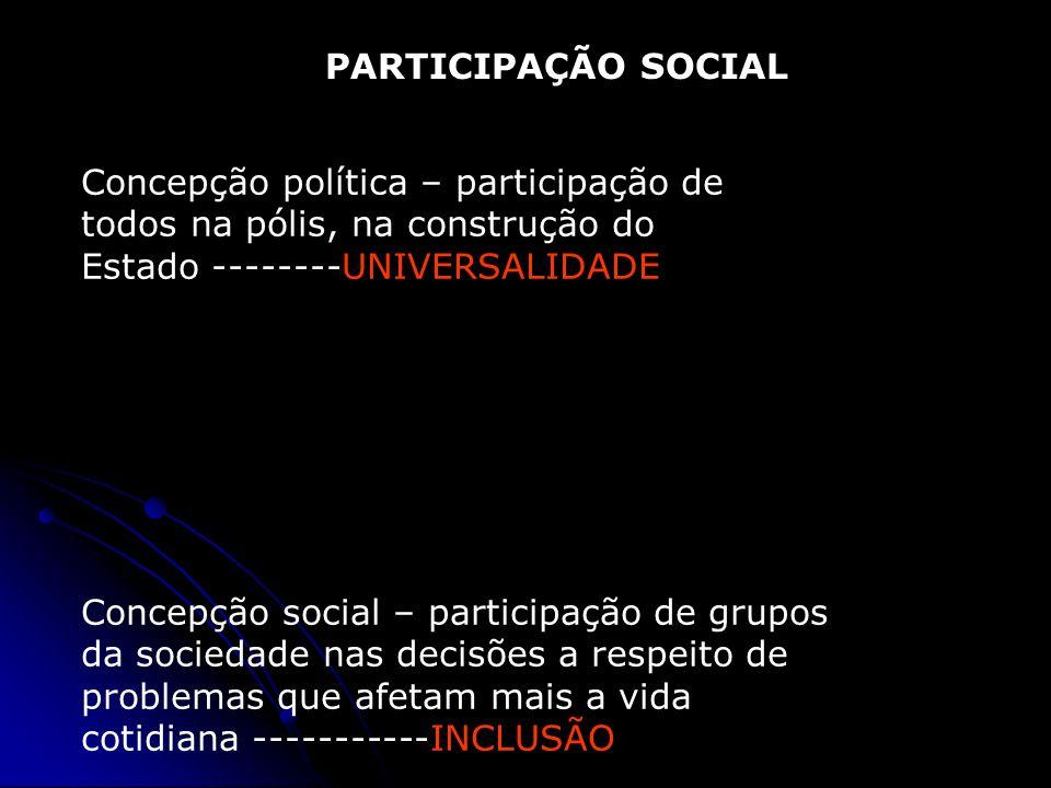 PARTICIPAÇÃO SOCIAL Concepção política – participação de todos na pólis, na construção do Estado --------UNIVERSALIDADE.