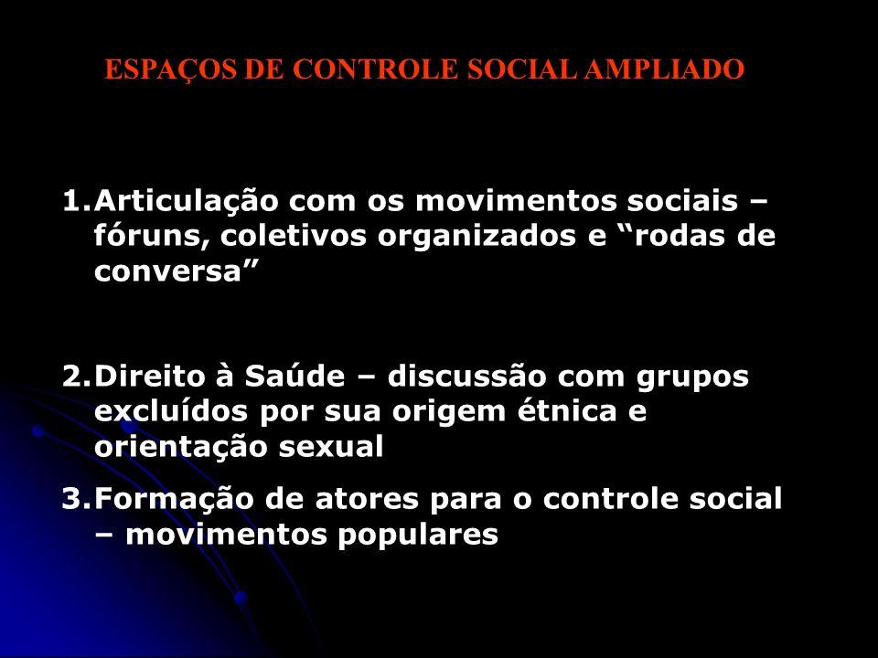 ESPAÇOS DE CONTROLE SOCIAL AMPLIADO