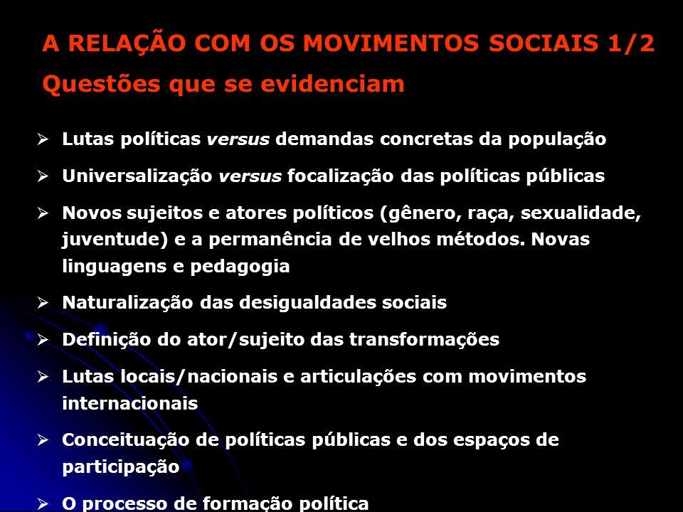A RELAÇÃO COM OS MOVIMENTOS SOCIAIS 1/2 Questões que se evidenciam