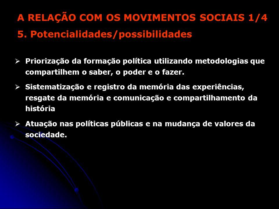 A RELAÇÃO COM OS MOVIMENTOS SOCIAIS 1/4