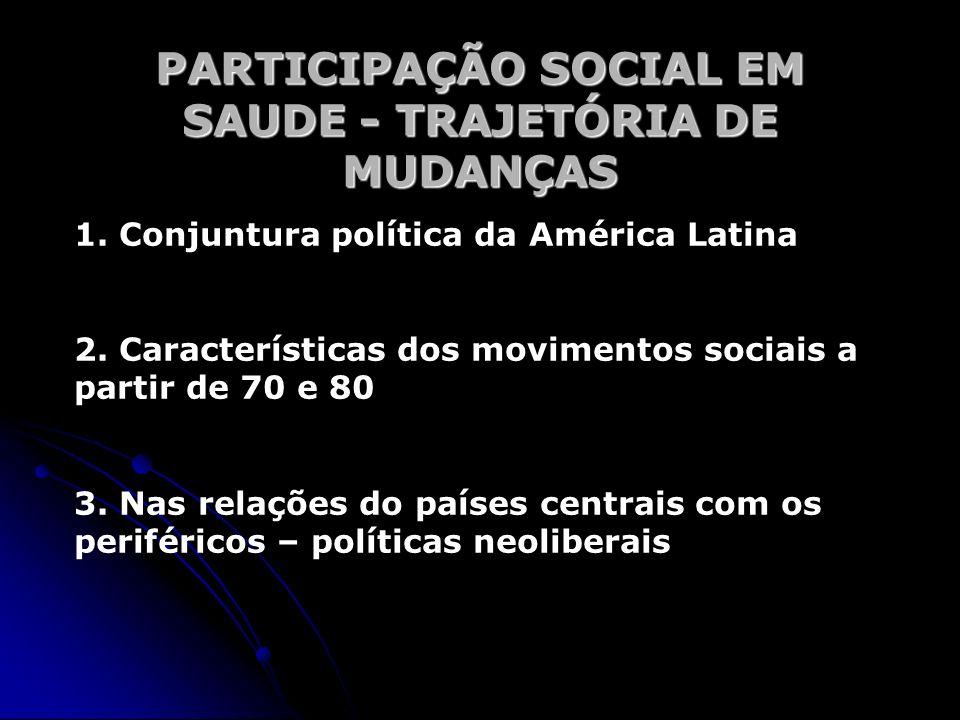 PARTICIPAÇÃO SOCIAL EM SAUDE - TRAJETÓRIA DE MUDANÇAS