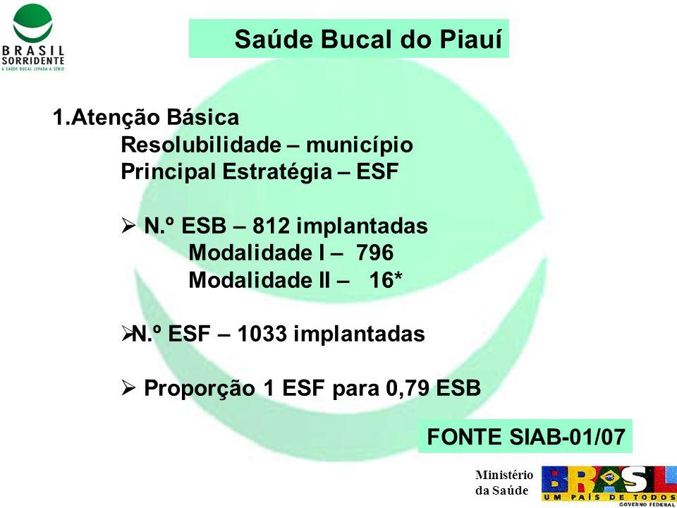Saúde Bucal do Piauí 1.Atenção Básica Resolubilidade – município