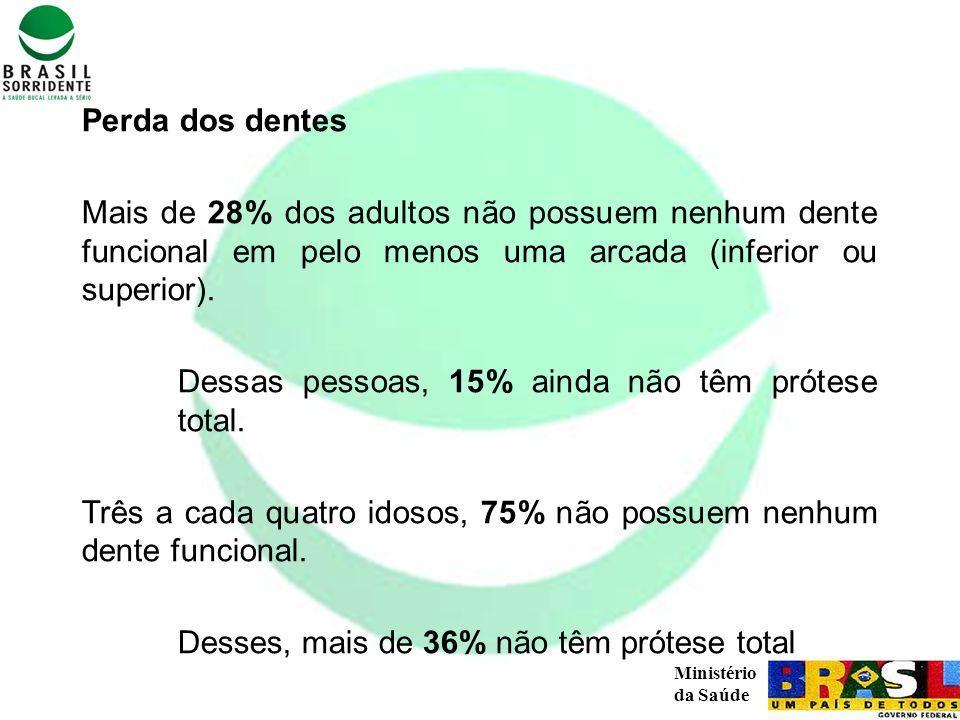 Perda dos dentes Mais de 28% dos adultos não possuem nenhum dente funcional em pelo menos uma arcada (inferior ou superior).
