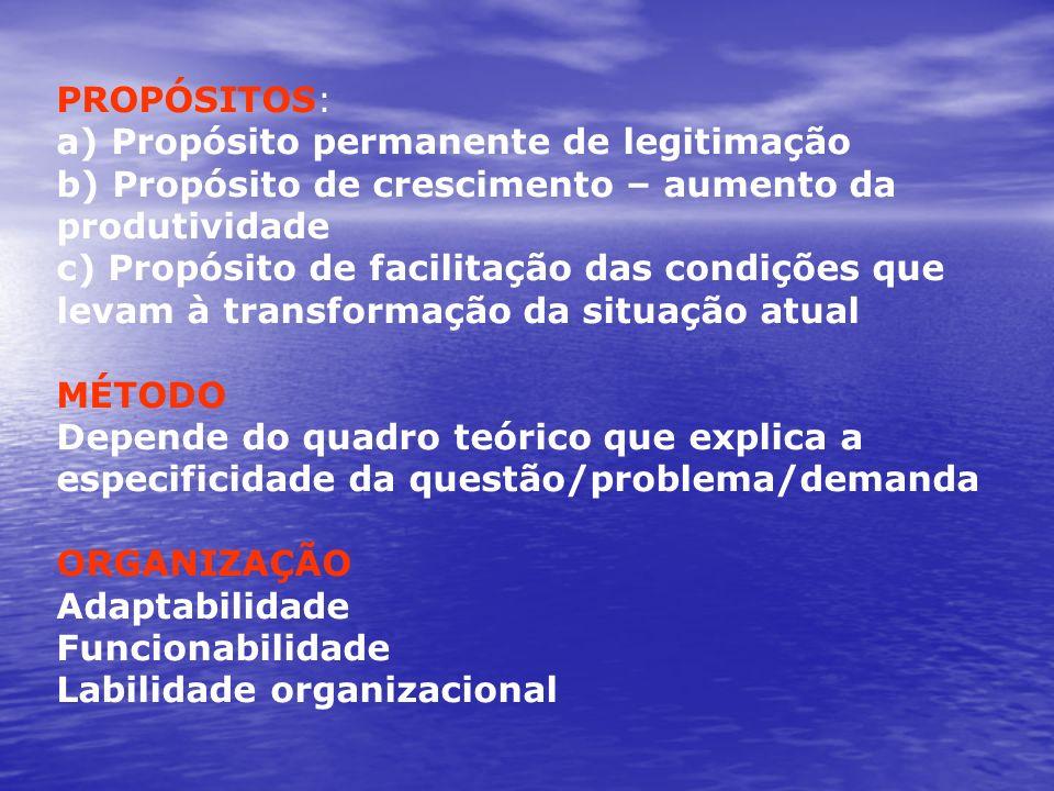 PROPÓSITOS:a) Propósito permanente de legitimação. b) Propósito de crescimento – aumento da produtividade.