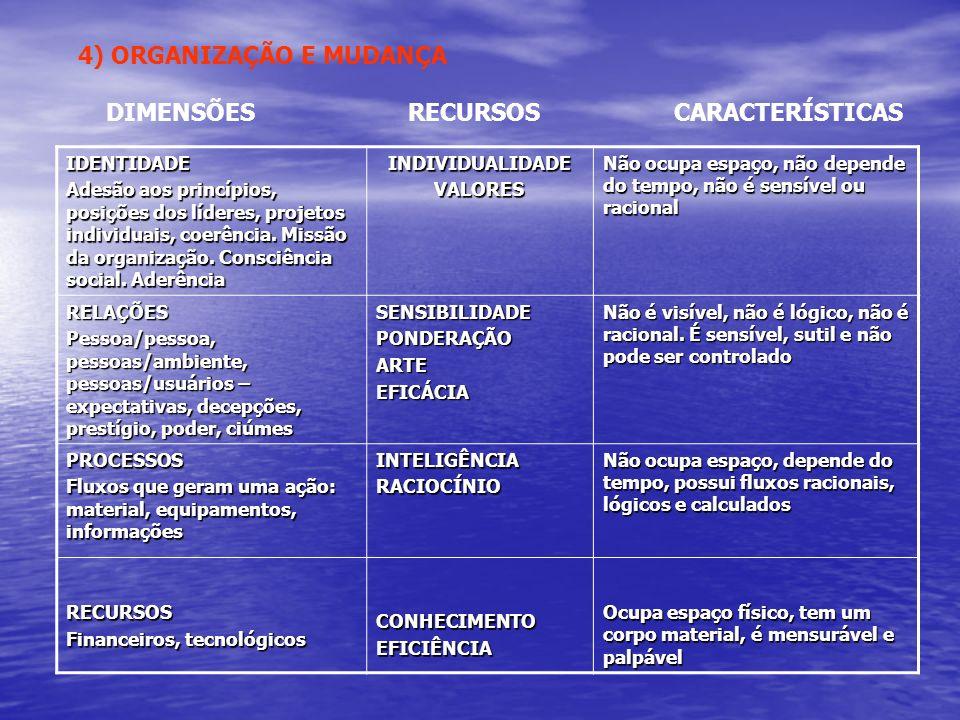 4) ORGANIZAÇÃO E MUDANÇA DIMENSÕES RECURSOS CARACTERÍSTICAS