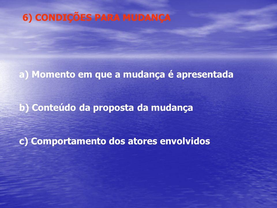 6) CONDIÇÕES PARA MUDANÇA