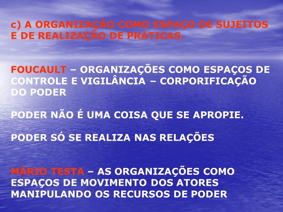 c) A ORGANIZAÇÃO COMO ESPAÇO DE SUJEITOS E DE REALIZAÇÃO DE PRÁTICAS.