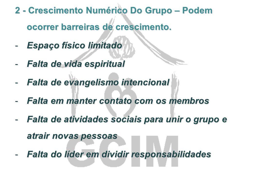 2 - Crescimento Numérico Do Grupo – Podem ocorrer barreiras de crescimento.