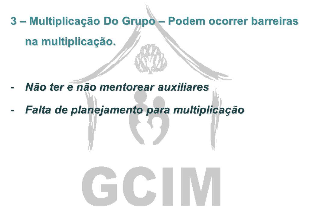 3 – Multiplicação Do Grupo – Podem ocorrer barreiras na multiplicação.