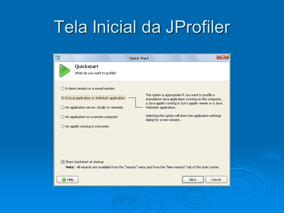 Tela Inicial da JProfiler
