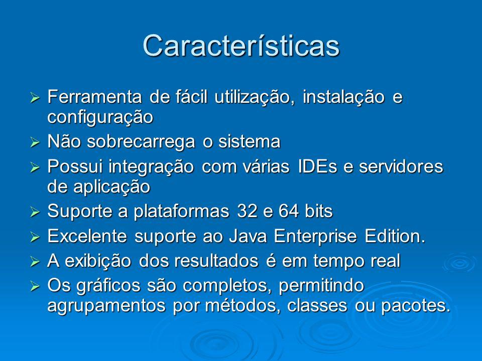 Características Ferramenta de fácil utilização, instalação e configuração. Não sobrecarrega o sistema.
