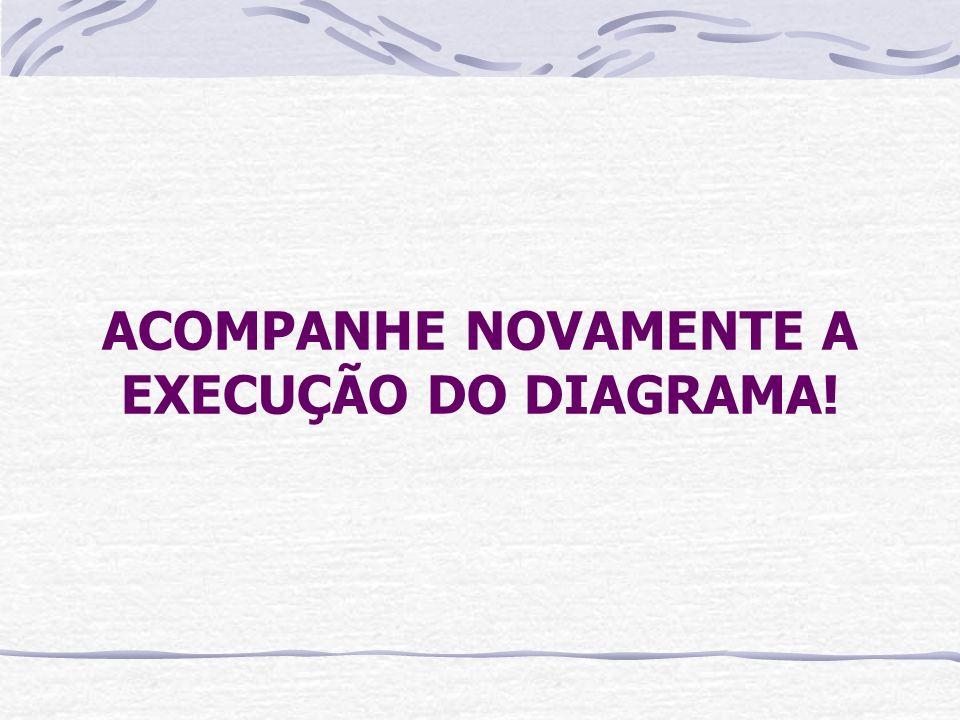 ACOMPANHE NOVAMENTE A EXECUÇÃO DO DIAGRAMA!