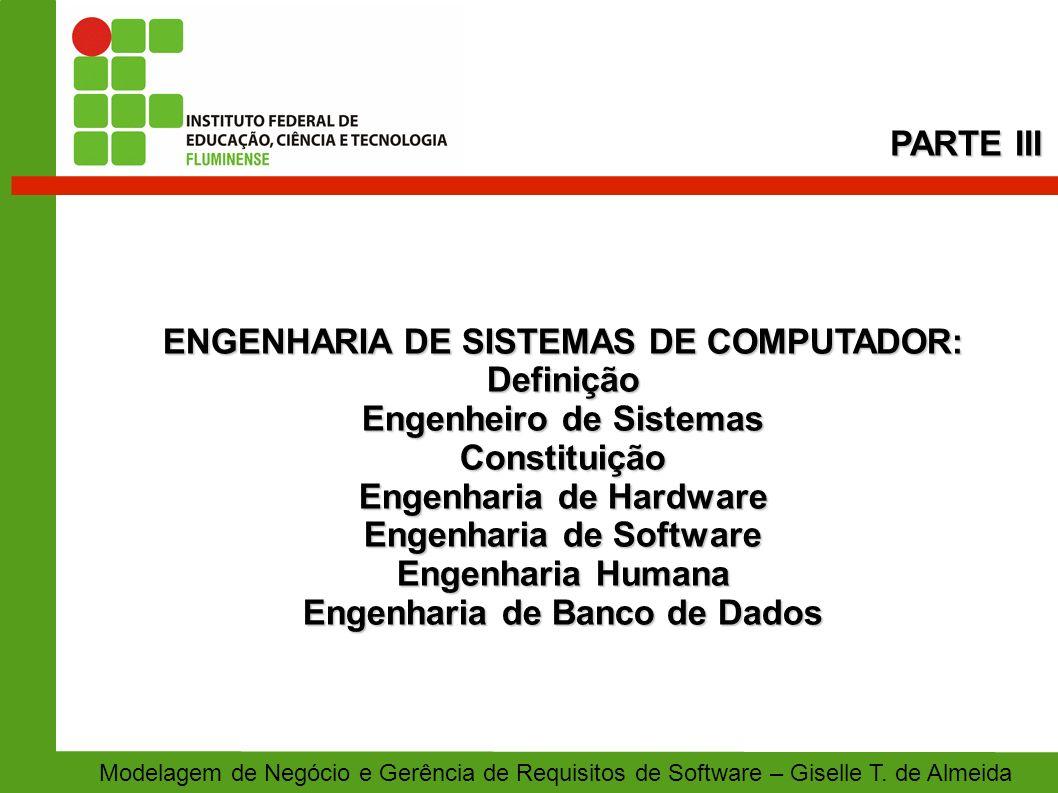 ENGENHARIA DE SISTEMAS DE COMPUTADOR: Definição Engenheiro de Sistemas