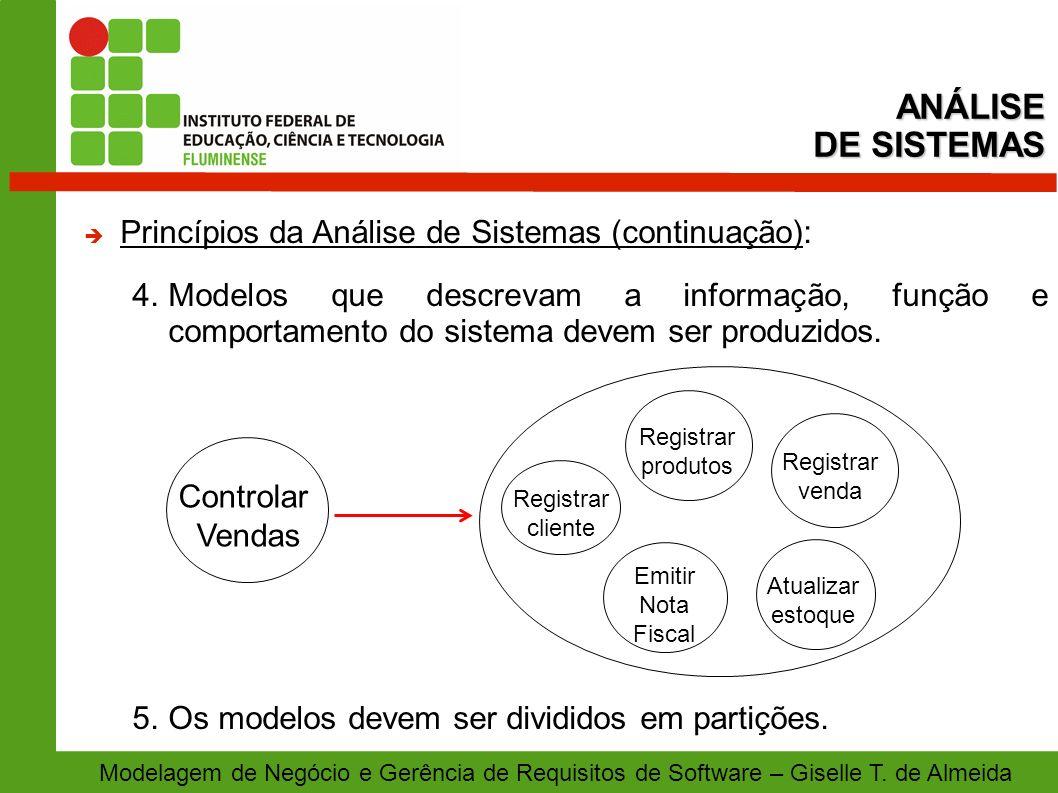 ANÁLISE DE SISTEMAS Princípios da Análise de Sistemas (continuação):