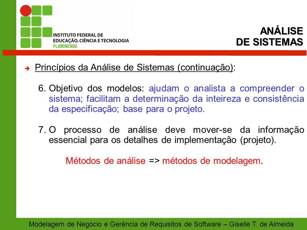 Métodos de análise => métodos de modelagem.