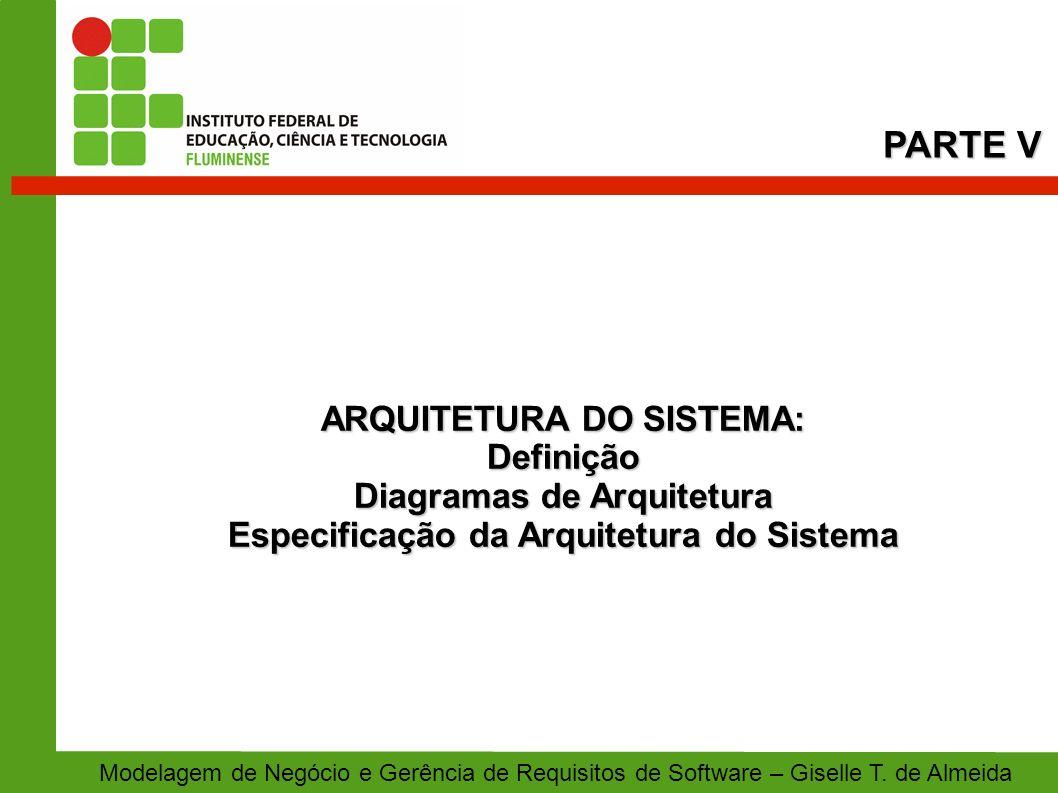 PARTE V ARQUITETURA DO SISTEMA: Definição Diagramas de Arquitetura
