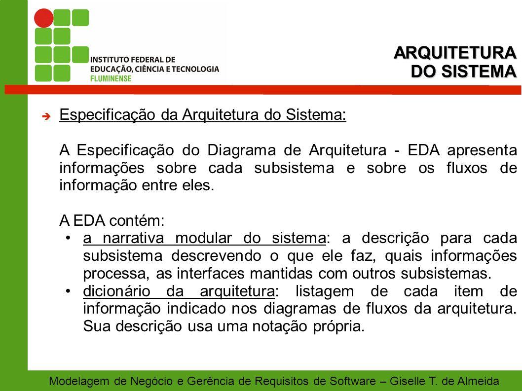 ARQUITETURA DO SISTEMA Especificação da Arquitetura do Sistema: