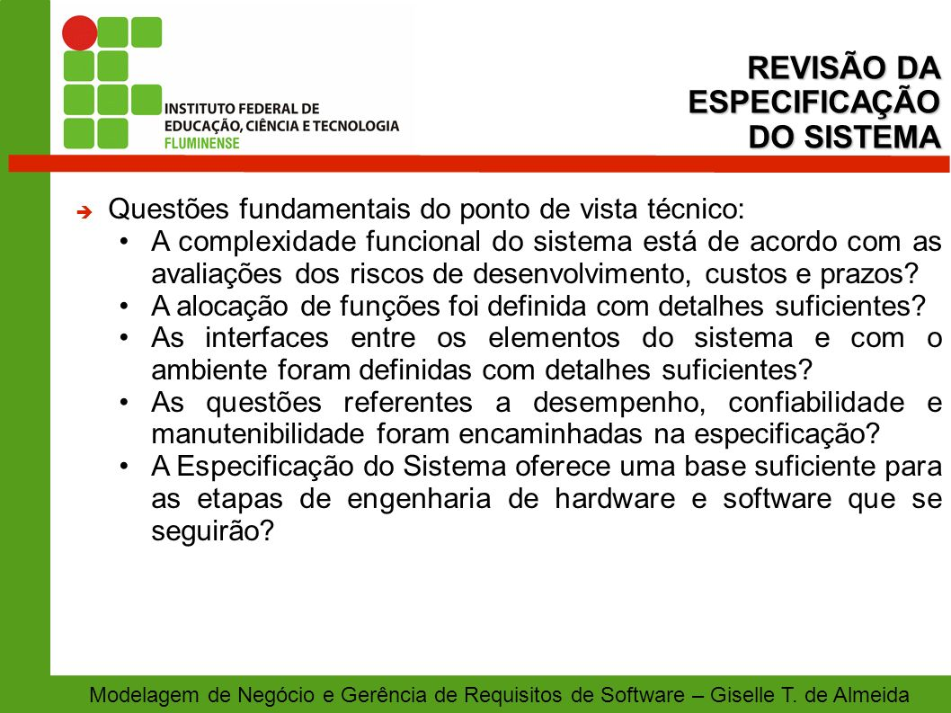 REVISÃO DA ESPECIFICAÇÃO DO SISTEMA