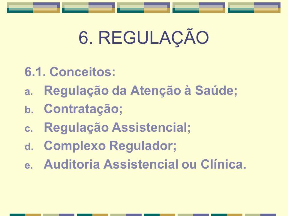 6. REGULAÇÃO 6.1. Conceitos: Regulação da Atenção à Saúde;
