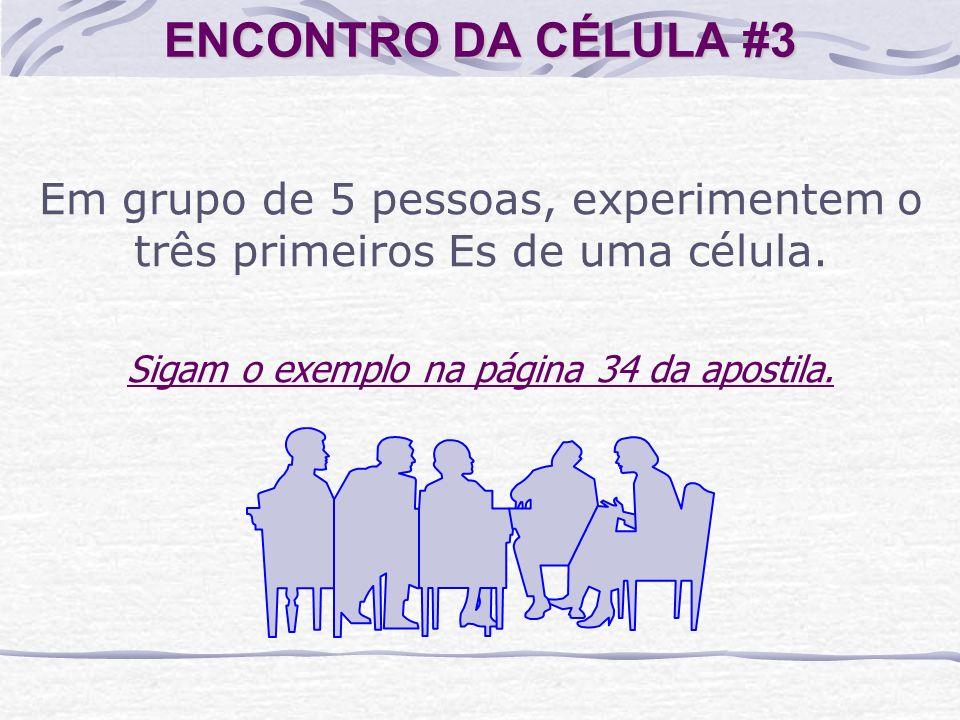 ENCONTRO DA CÉLULA #3 Em grupo de 5 pessoas, experimentem o três primeiros Es de uma célula.