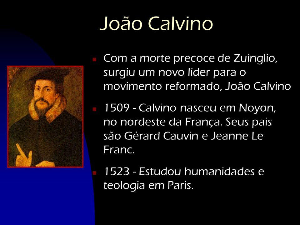 João Calvino Com a morte precoce de Zuínglio, surgiu um novo líder para o movimento reformado, João Calvino.